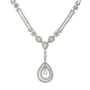 5.5 Caratt Rose Cut All Around Diamond Tear Drop Necklace in 18k White Gold