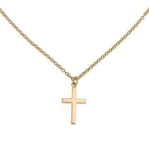 Gucci Classic 18k Yellow Gold Cross Pendant & Chain
