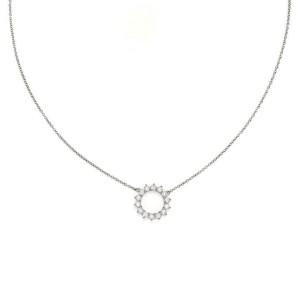 Tiffany & Co. Diamond Platinum 13.8mm Open Circle Pendant & Chain