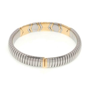 Bvlgari Bulgari 18k Yellow Gold & Steel Parentesi 10mm Wide Flex Bracelet