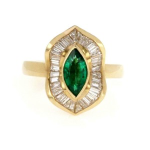 18k Yellow Gold Diamond & Marquee Cut Emerald Cocktail Ring Size - 7
