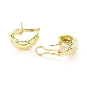 18k Yellow Gold 8 Carats Baguette Diamond Wide Curved Huggie Earrings