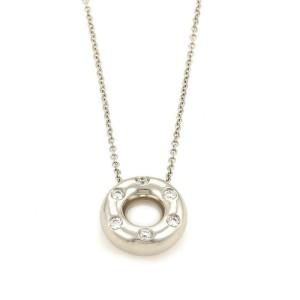 Tiffany & Co. Etoile Diamond Platinum Open Circle Pendant & Chain