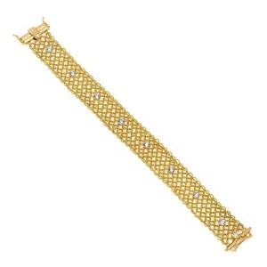 18k Two Tone Gold Diamond 15.5mm Fancy Open Flex Chain Link Bracelet
