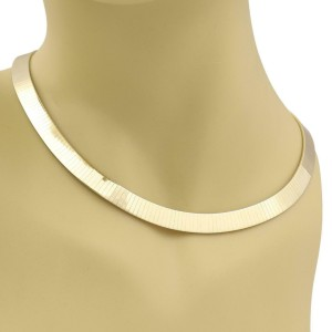 Italy 14k Yellow Gold 10mm Wide Soft Flexible Flat Omega Collar Necklace