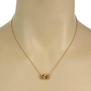 Tiffany & Co. 18k Yellow Gold Ribbon Bow Pendant & Chain