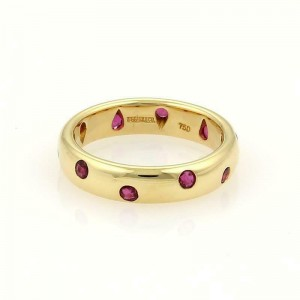 Tiffany & Co Etoile Ruby 18k Yellow Gold 4mm Wide Dome Band Ring Size 5.75