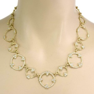 Judith Ripka 5 carat Diamond 18k Yellow Gold Floral Circle Link Necklace