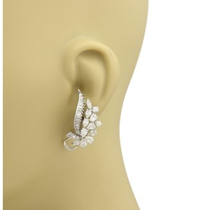 Platinum 6.5ctw Diamond Long Curved Design Floral Post Clip Earrings
