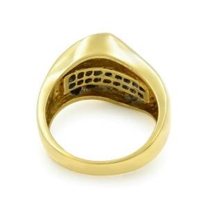 Rachel Koen 18K Yellow Gold Diamond Wave Ladies Cocktail Ring 1.10Cttw