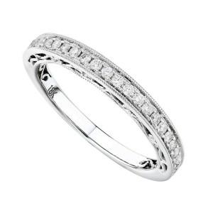 Rachel Koen 18K White Gold Diamond Pave Ladies Ring 0.42cttw Size 6.5