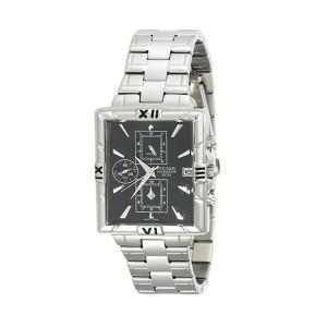 Pulsar Chronograph Rectangular Black Dial Stainless Steel Mens Watch PF8289