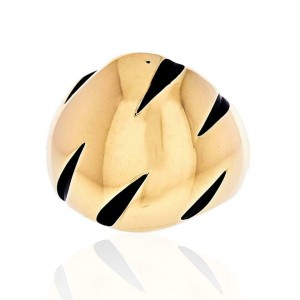 Cartier 18K Yellow Gold Panthere Claw Black Lacquer Ring Size 4.75