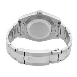 Rolex Datejust Steel 18K White Gold Bezel Blue Baton Dial Mens Watch 116334