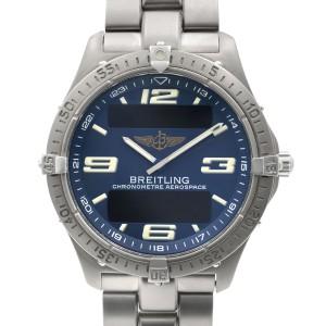 Breitling Aerospace Titanium Blue Dial Quartz Mens Digital Analog Watch E75362