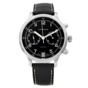 Longines Heritage Military 1938 Steel Chrono Black Dial Mens Watch L2.790.4.53.3