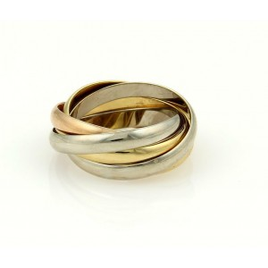 Cartier Trinity 18k Tri-Color Gold 5 Rolling Rings Size EU 51-US 5.5