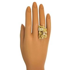 Estate Greek Multicolor Gems 18k Yellow Gold Large Fancy Design Long Finger Ring