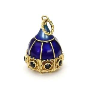 Rare Vintage Collectible 18k Gold Sapphire Enamel Etruscan Design Charm Pendant