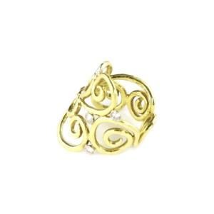 Desiner Sal Praschnik Diamond 18k Gold Open Scroll Design Long Ring Size- 7