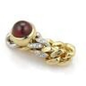 Pomellato 3.18ct Garnet & Diamonds 18k Two Tone Gold Chain Band Ring Size 5