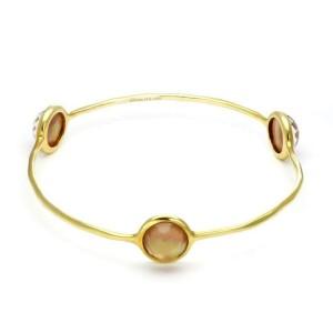 Ippolita Rock Candy Peach Quartz Gelato Gem 18k Gold Bangle Bracelet