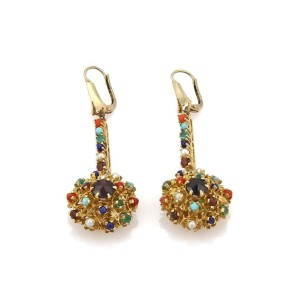 Estate Multi-Color Gemstone 14k Yellow Gold Etruscan Drop Dangle Earrings
