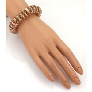 Roberto Coin 18k Rose Gold Basket Weave 16mm Coiled Stretch Bracelet