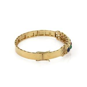 5.50ct Diamond & Gemstones 18k Yellow Gold Bangle Bracelet