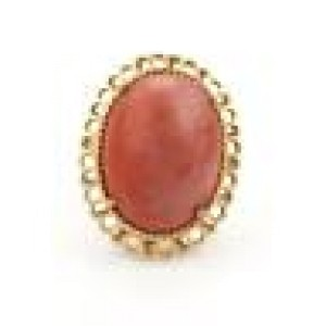 Vintage Large Coral 14k Yellow Gold Large Solitaire Fancy Oval Ring Size - 7