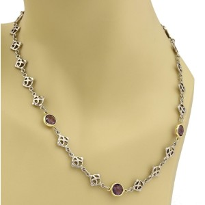 David Yurman Amethyst 925 Silver 18k Yellow Gold Logo Chain Link Necklace