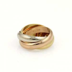 Cartier TRINITY 18k Tricolor Gold 4.5mm Rolling Band Ring Size EU 51-US 5.5
