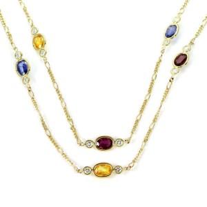"""Estate 18.40ct Diamond & Sapphire 14k Yellow Gold Figaro Chain Necklace 30"""" L"""