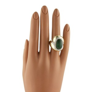 Estate Designer Diamond & Jade 18k Yellow Gold Large Dome Ring Size 5