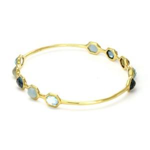 Ippolita Rock Candy Gelato Multi-Color Gems 18k Yellow Gold Bangle