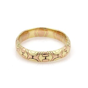 Bvlgari Bulgari Parentesi 18k Yellow & Rose Gold Dome Flex Cuff Band Bracelet