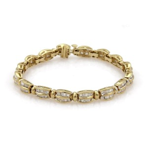 Estate 4.50ct Baguette Diamond 14k Yellow Gold Curved Bar Link Bracelet