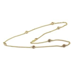 New 3.00ct Diamond By The Yard 14k Yellow Gold Bezel Set Eternity Necklace