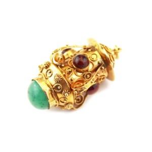 Vintage Emerald & Garnet 18k Yellow Gold Scroll Design Lantern Pendant