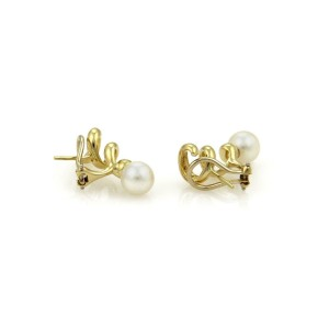 Tiffany & Co. Pearls 18k Yellow Gold Spiral Post Clip Earrings