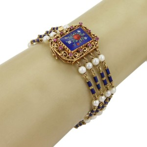 Vintage 18k Yellow Gold Ruby Pearls Enamel Floral 4 Strand Fancy Bracelet