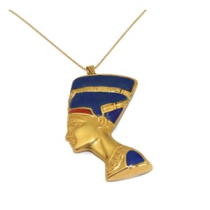 Large Egyptian Queen Nefertiti 18k Yellow Gold Lapis Coral Pendant Necklace