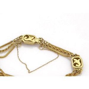 Vintage Diamond Multicolor Enamel 18k YGold Triple Chain Mughal Bracelet