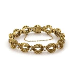 18k Yellow Gold 1.45ct Diamond Open Textured Floral Link Bracelet