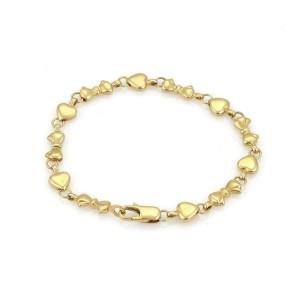 Tiffany & Co. 18k Yellow Gold 12 Hearts & Bow Link Bracelet