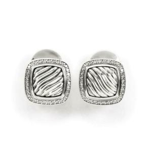 David Yurman Albion Diamond Sterling Silver Sqaure Post Clip Earrings