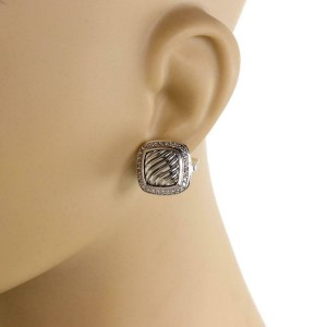 David Yurman Albion Diamond Sterling Silver Sqaure Post Clip Earrings