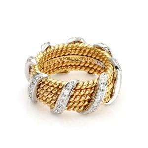 Tiffany & Co. Schlumberger Diamond 18k Gold Platinum 5 Rows Band Ring