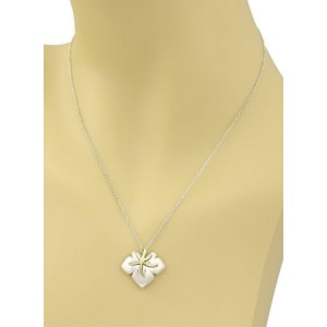 "Tiffany & Co. 1991 ""Ivy"" Sterling 18k YGold Starfish Leaf Pendant & Chain"