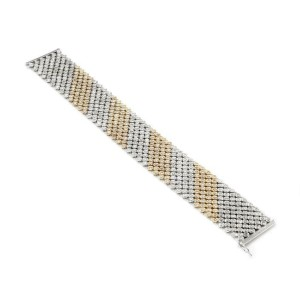 Elegant 8.15ct Diamond 14k Two Tone Gold 24mm Wide Flex Bracelet